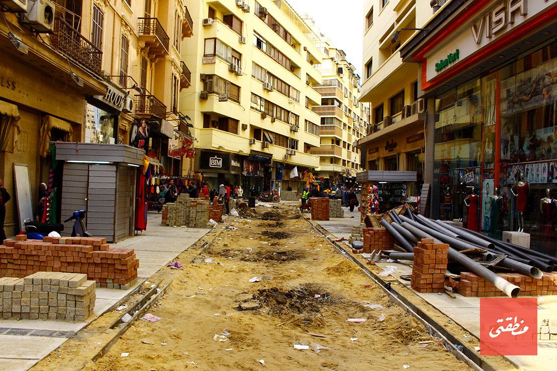 ممر الشواربي أثناء تجديده - تصوير: صديق البخشونجي