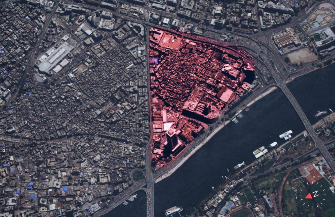 صورة من القمر الصناعي لمنطقة مثلث ماسبيرو (المساحة المظللة باللون الأحمر)