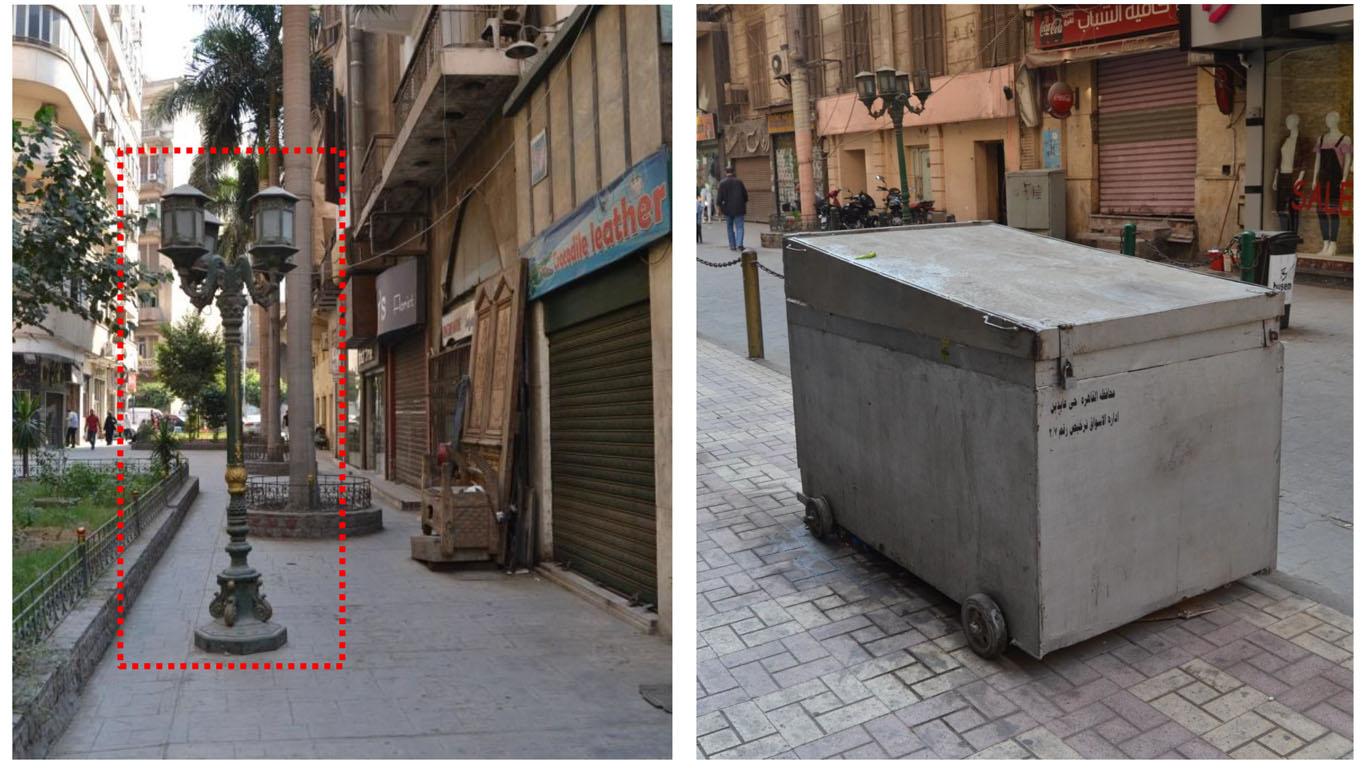 يرصد التقرير وجود العديد من العناصر التي تعوق حركة المشاة بشارع القاضي الفاضل