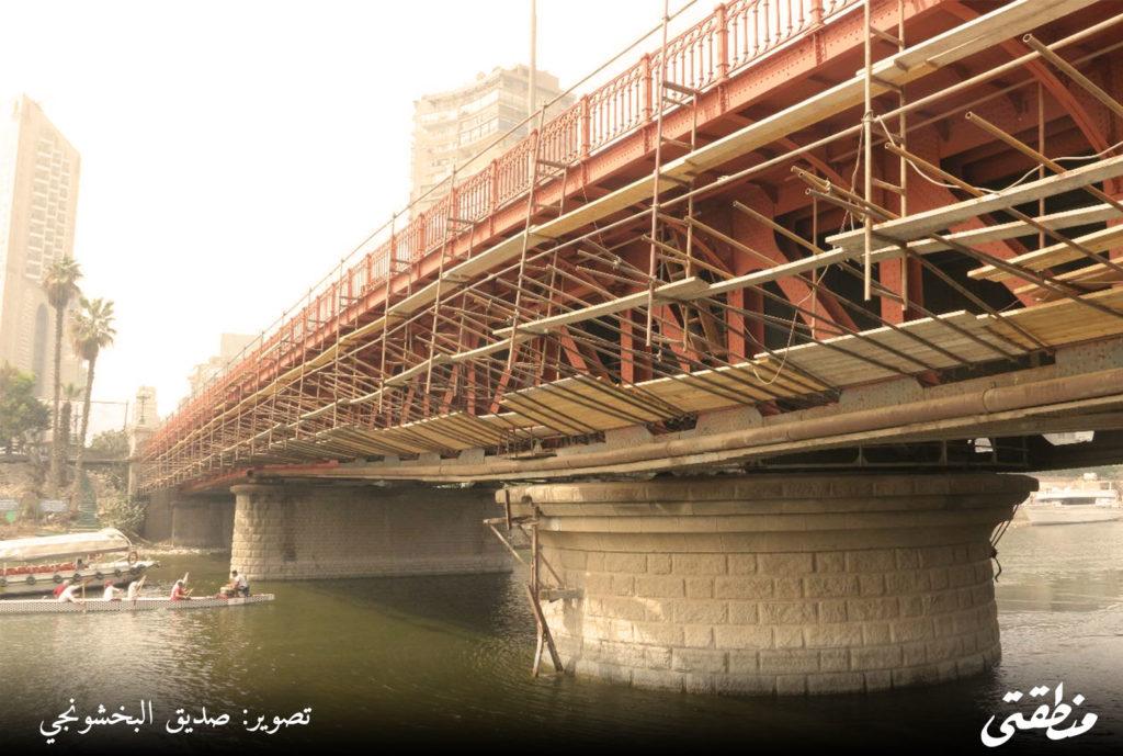 كوبري الجلاء اثناء بداية اعمال تطويره بحضور محافظ القاهرة - تصوير صديق البخشونجي