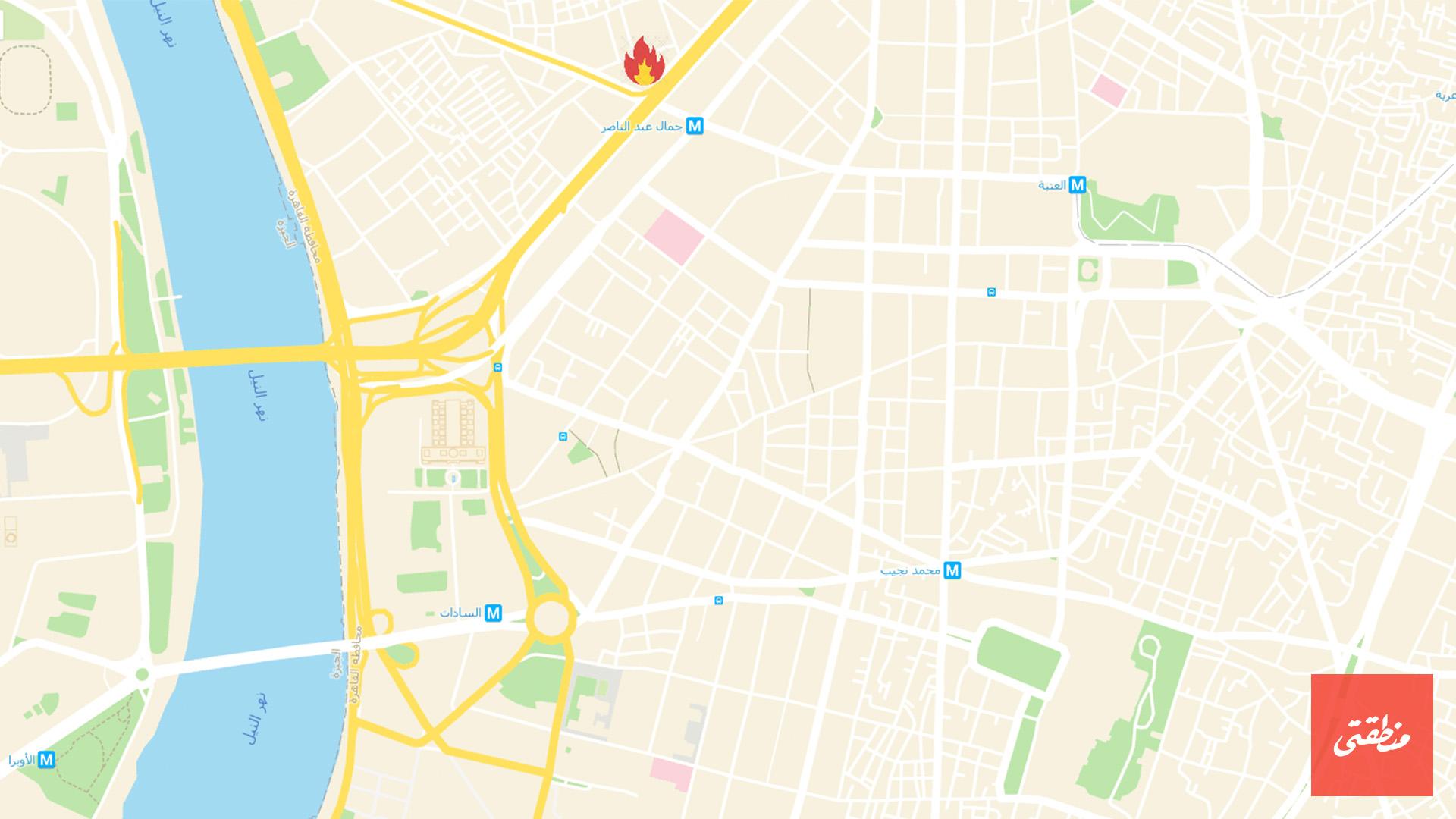 خريطة توضح موقع الحريق بالقرب من مستشفى الجلاء ظهر اليوم دون خسائر