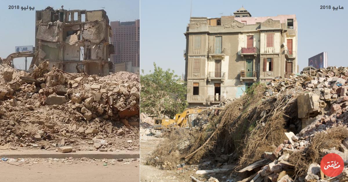 يمينَا العقار 14 شارع عمر بن قطبية في مثلث ماسبيرو أبريل الماضي.. يسارًا المبنى بعد هدمه اليوم