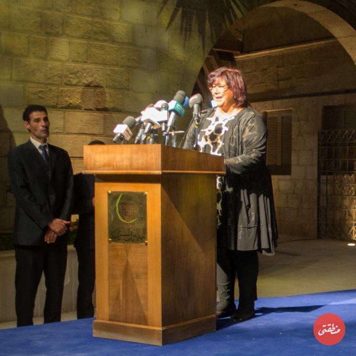 الدكتورة إيناس عبد الدايم وزيرة الثقافة أثناء كلمتها خلال الاحتفالية - تصوير - عبد الرحمن محمد